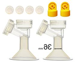 36 mm 2xOne-Piece Small Breastshield w/ Valve and Membrane f