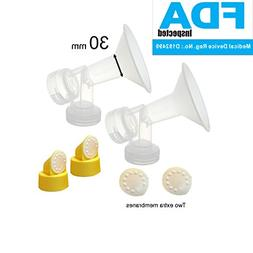 30 mm 2xOne-Piece Extra Large Breastshields w/ Valves and Me