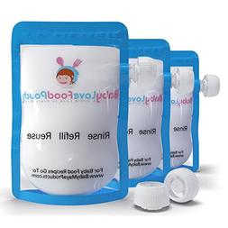8 Reusable Baby Food Pouches-Refillable Bags for Homemade Fo