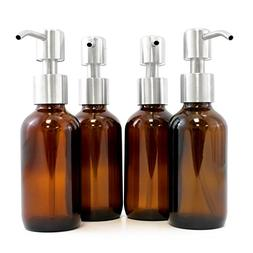 Amber Brown 4-Ounce Glass Bottles with Stainless Steel Pump