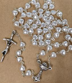 FIRST COMMUNION rosary mother of pearl white heart made Pola