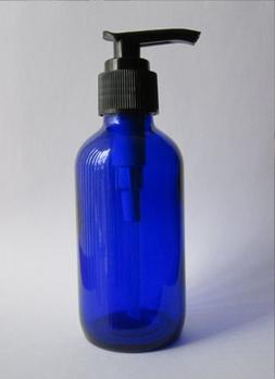 Pack of 6 - 4oz Cobalt Glass Boston Round Bottles with Pump