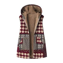 Womens Winter Vest Coats Warm Outwear Floral Print Hooded Po